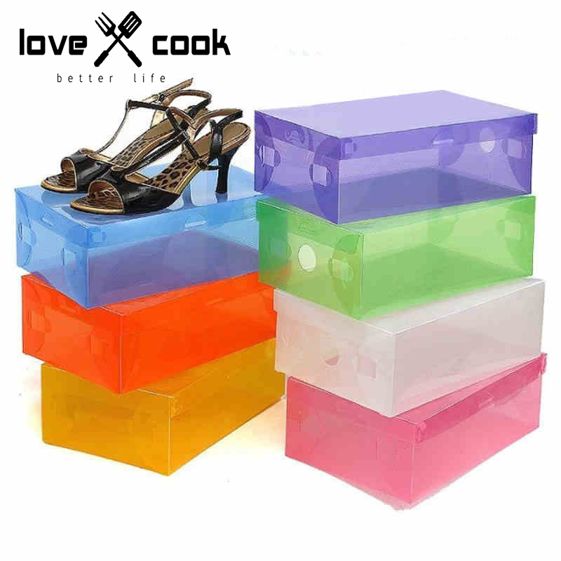4pc Set PP Shoe Box Clear Shoes Storage Box Waterproof Drawer Shoe Box With Cover Folding Storage Bins Home Storage Tools(China (Mainland))