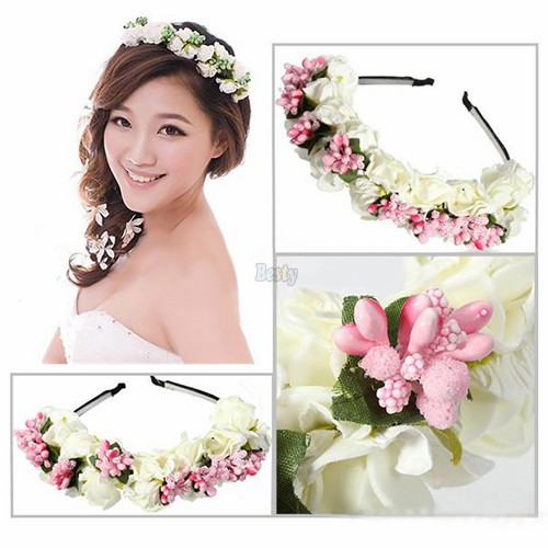 Flower Garland Boho Floral Headwear Headband Garland Festival Wedding Bridal Hairband Women Pink/White Free Shipping(China (Mainland))