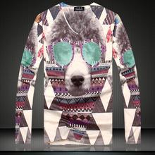Dog Printing Shirt Long Sleeve 2015 Men's T-Shirt Undershirt Fashion Tee Shirt V Neck Man Men Autumn Pullover Large Size M-XXXL