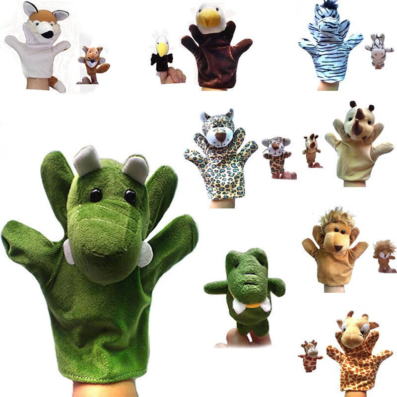 Hot Sale Baby Toy Animal Hand Gloves Finger Sack Velour Learning Aid Doll Puppet Preschool Story Learn Toys For Child Boy Kids(China (Mainland))