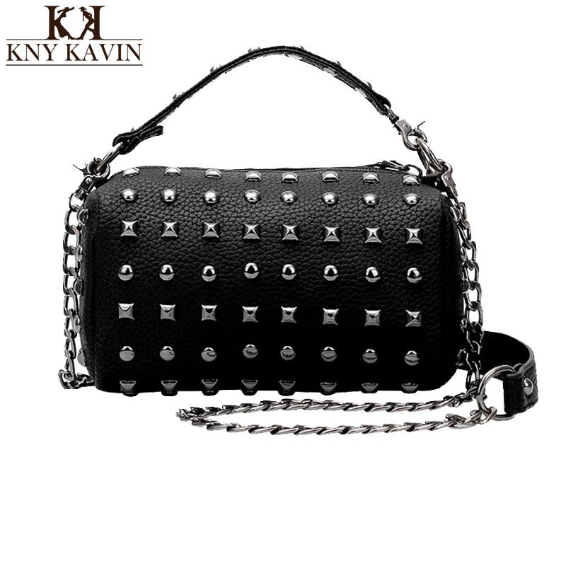 sac pochette femme Women Fashion Rivet Messenger Bag PU Leather Bag Casual Ladies Handbag Punk Baguettle 2016 New Arrivel(China (Mainland))