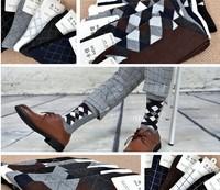 Cotton Socks Mens  Cotton Argyle Dress Ankle Fashion Designer Crew Socks Collection Quality Meias