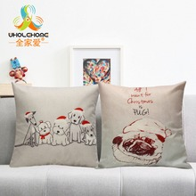 Dog in Christmas Hat Pattern Cushions