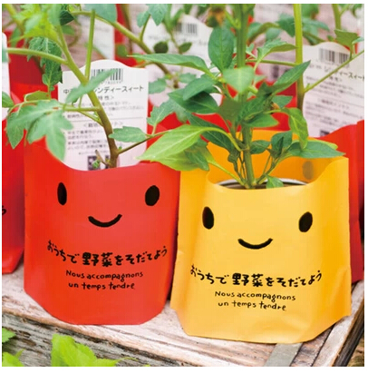PB081 Lovely Mini Plastic Pot Plant Bags Stand Up Pouch Bags For Party Decoration 50Pcs/lot(China (Mainland))
