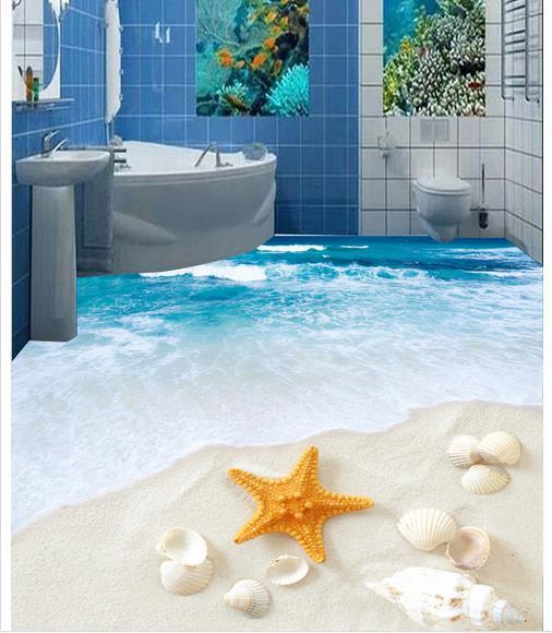 Custom photo floor wallpaper 3D stereoscopic 3D bathroom floor 3d mural PVC wallpaper self-adhesion floor wallpaer 20157933(China (Mainland))