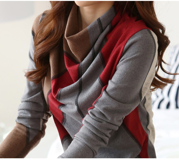 Korean Autumn&Winter Sweater Women Patchwork Pullovers Scarf Collar Knitted Soft Warm Cotton Female Fashion High Qaultiy