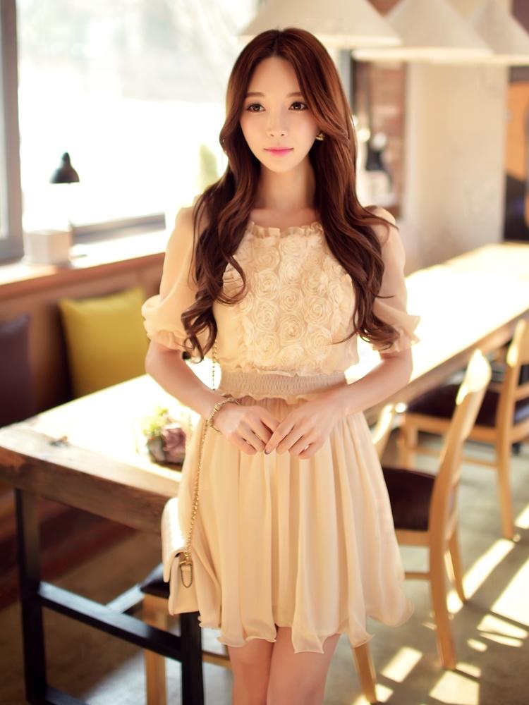 dabuwawa short sleeved dress summer 2016 new women's waist flowers short sleeve chiffon dresses light beige women pink doll