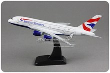 18.5cm Metal Plane Model Air British Airways Airbus 380 A380 G-XLEC Airplane Model Airlines w Stand Aircraft Toy Gift(China (Mainland))