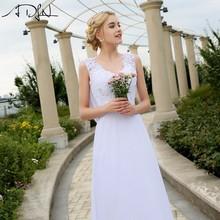 Buy ADLN 2017 Cheap V-neck White/Ivory Wedding Dresses Zipper Back Bridal Gowns Plus Size Vestido De Noiva Real Model Bride Dress for $56.99 in AliExpress store
