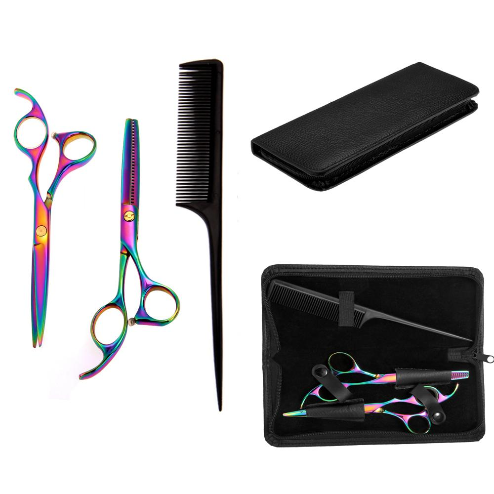 """6.7"""" Professional Barber Hair Cutting Scissors Shears Color + Pointed Tail Comb"""