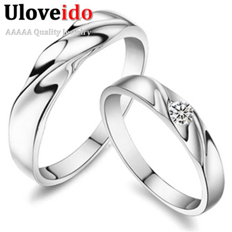 Sold by Pair 925 Silver Wedding Ring Men and Women Twist Shape Zircon Rhinestone Fake Stone Engagement Jewelry ULOVE J061(China (Mainland))