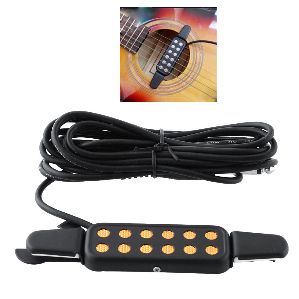 """Hot Clip-on Pickup Acoustic Electric Guitar Pick up 12 Hole Transducer Amplifier 1/4"""" Black Portable High quality(China (Mainland))"""