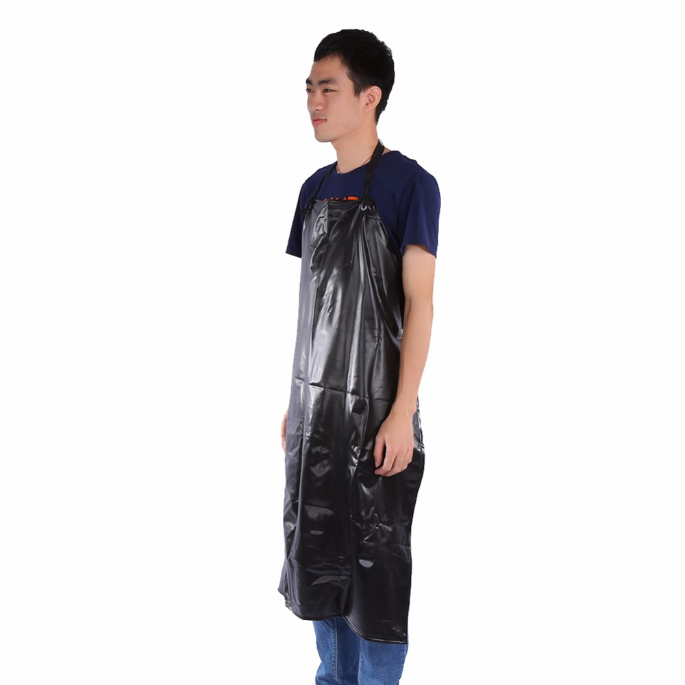 Brief Style Black Waterproof PVC Heavy-duty Apron Extra Long For Kitchen Butcher Cooking Cartering Unisex 2016 New Arrival(China (Mainland))