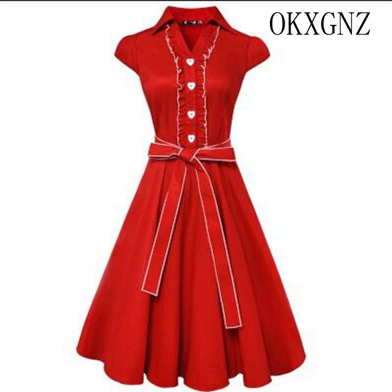 OKXGNZ Women Dress 2017 Korea New the fall Pure Color sexy Big yards Dress leisure Slim Bowknot Full-skirted Dress Women QQ160(China (Mainland))