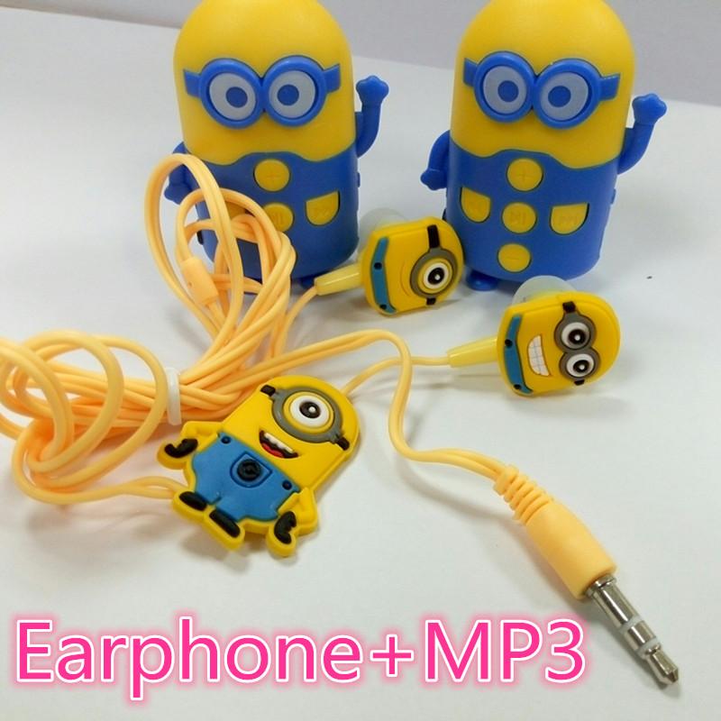 Cartoon Fat Minions Beedo Mini Digital TF Download Free Music MP3 Player Support Micro TF Card Slot + Earphones + USB Charger(China (Mainland))