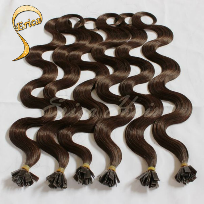 """Fusion hair extensions Brazilian Body wave Human hair keratin Flat tip hair extensions Pre-bonded hair for capsule 50g 14""""-26""""(China (Mainland))"""