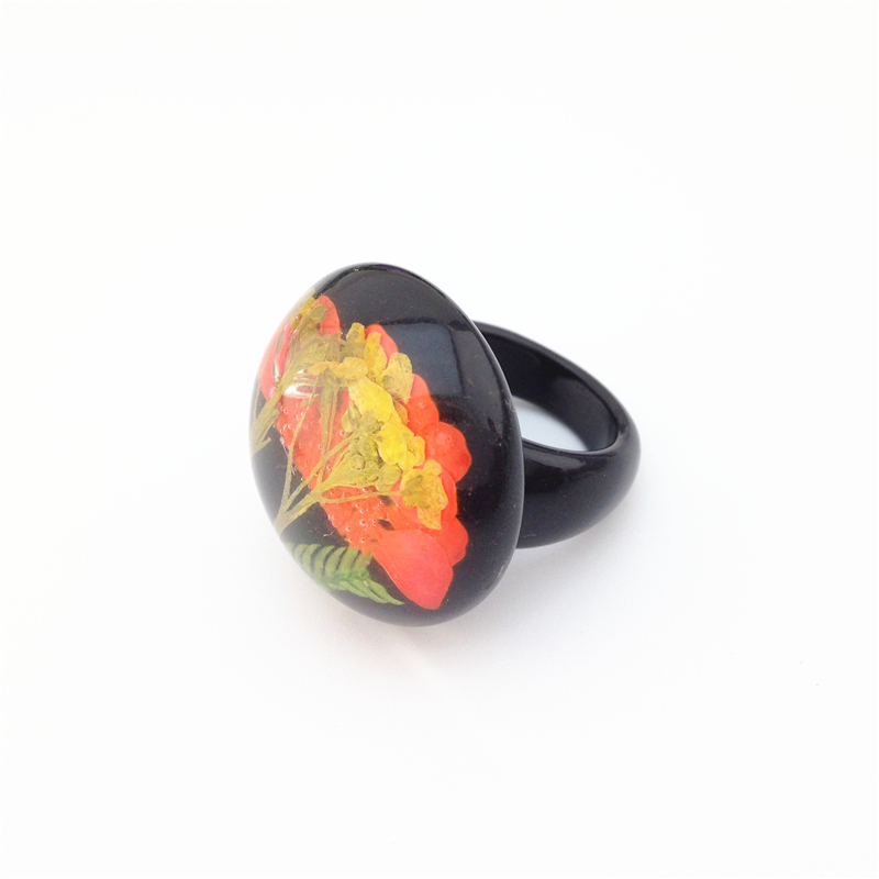 2016 European and American fashion jewelry wholesale ring black plastic really flowers leaves special female ring(China (Mainland))