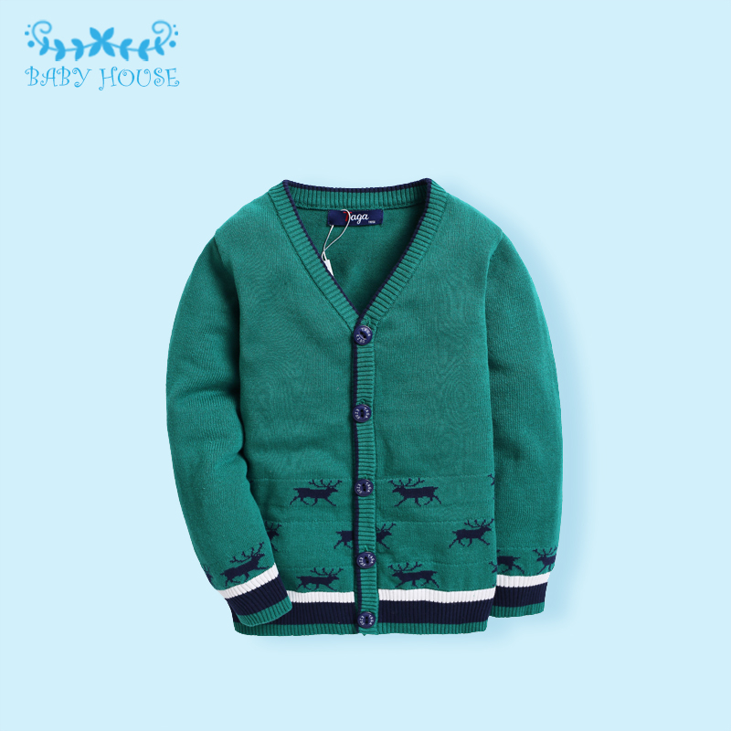 Фотография Hot Sale Jumper Infant Baby Boys Girls Children Sweaters Kids Knitted Pullovers V-Neck Warm Outerwear Boy Sweaters