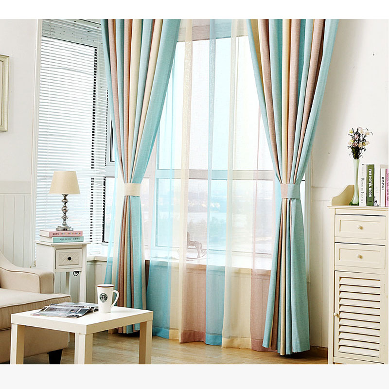 1pcs Blue Striped Printed Window Curtains For The Bedroom Fancy Children Modern Curtains For