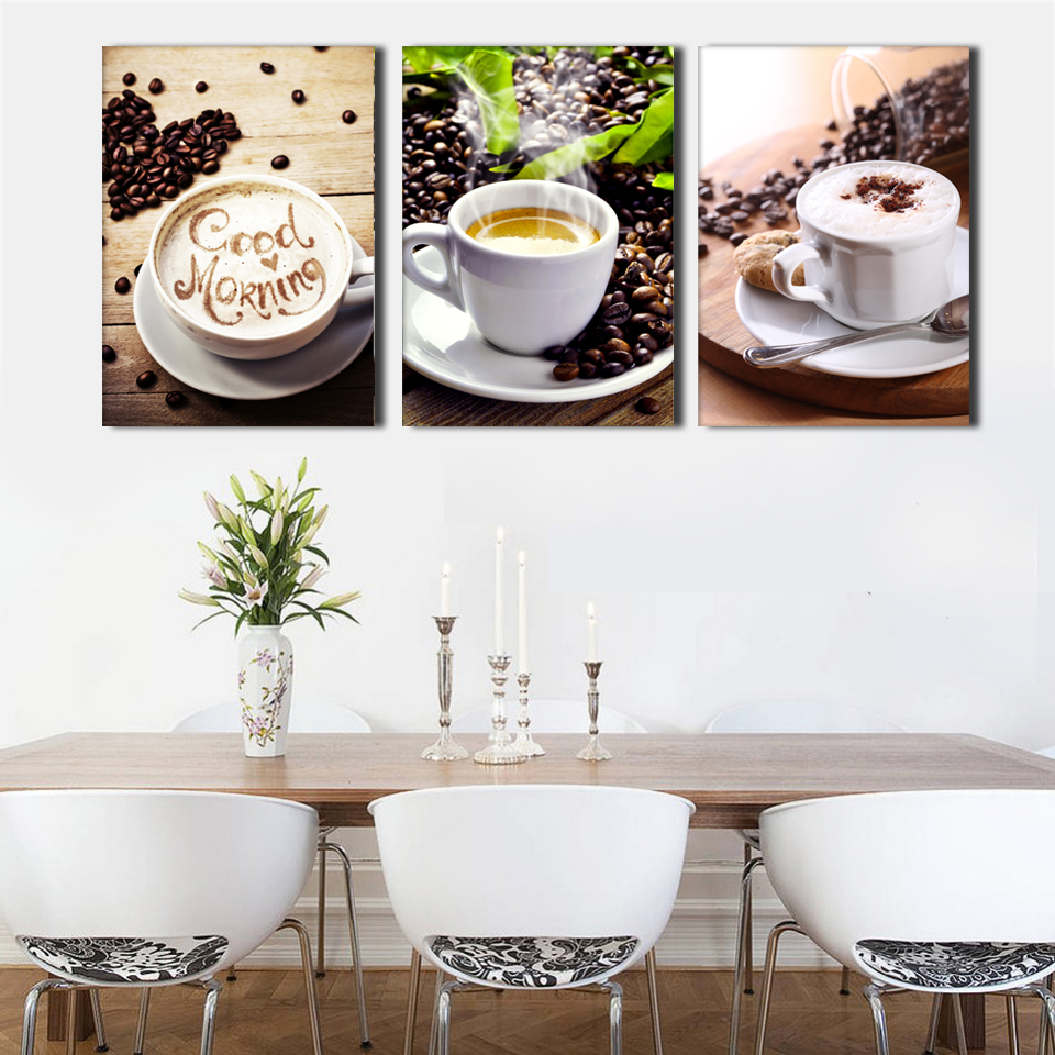 3Pcs Coffee Canvas Painting Poster Wall Pictures For Living Room Print On Canvas Wall Decor Painting(No Frame) HD Print Painting(China (Mainland))