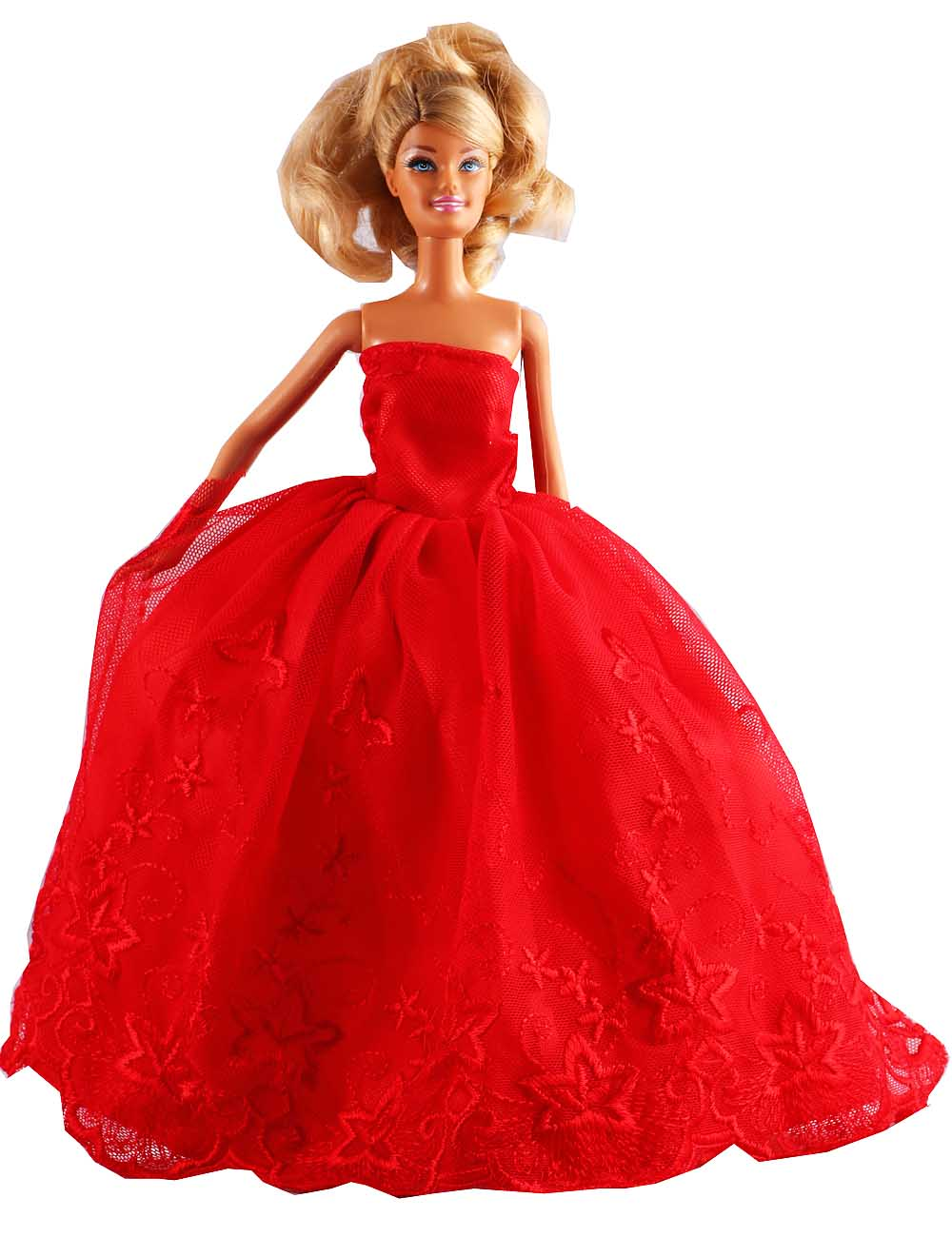 "New Fashion Handmade Red Lace Dress/Party Dress Clothes Gown For 11"" Barbie Doll D1084(China (Mainland))"