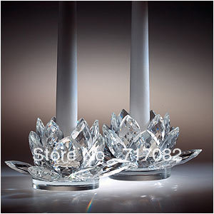 top grade 14mm k9 crystal lotus candle holder for home decoration - Free shipping(China (Mainland))