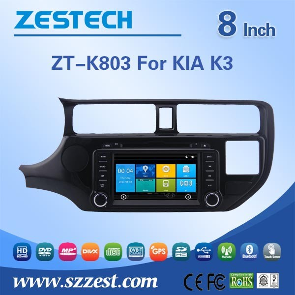 ZESTECH OEM direct sale 8 inch car dvd for Kia Rio/K3/Pride cd player car radio with sim card with GPS SWC Radio Audio 3G Wifi(China (Mainland))