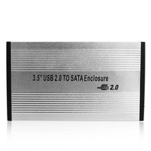 UN2F 3.5 inch Silver USB 2.0 SATA External HDD HD Hard Drive Enclosure Case Box(China (Mainland))