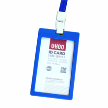 PVC ID Badge Holder Accessories Vertical Credit Card Bus Cards Case Papelaria Cute Stationery Supplies With Lanyard Card Holder(China (Mainland))