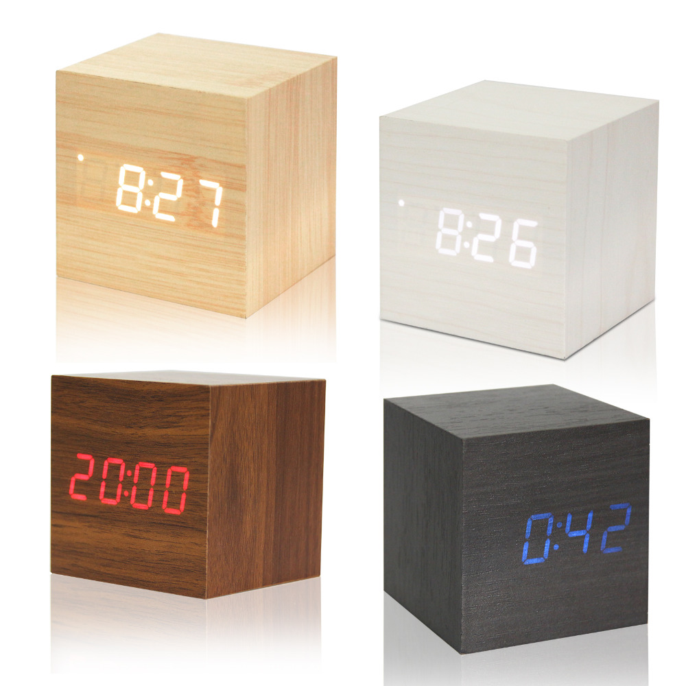 USB/AAA Powered Cube LED Digital Alarm Clock Square Modern Wood Clock Thermometer Temp Date Display Calendars Desk Table Clock(China (Mainland))