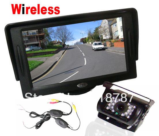 "4.3"" LCD Monitor Car Rear View Kit + 18 IR LED Wireless Reverse Camera Free Shipping(China (Mainland))"