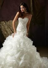 Buy Elegant Mermaid 2016 Wedding Dresses Sweetheart Backless Organza Sleeveless Tiered Bridal Gowns Crystal Vestido de novia for $122.45 in AliExpress store
