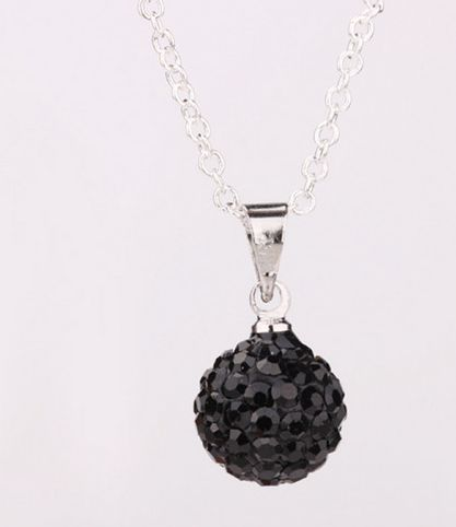 women mean gift!mixed white can pick color clay ball wedding ball Crystal Pendant Silver Plated Chain Shamballa Necklace(China (Mainland))