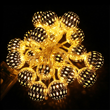 Battery LED String 2M 20 / 1M 10LED Moroccan Balls Warm White Wedding Party Fairy Lights Christmas Garlands Decoration - Good Life Eco Technologies Co. Ltd. store
