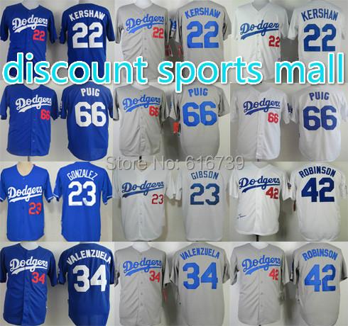 Yasiel Puig 22 Clayton Kershaw Jersey,Adrian Gonzalez Jackie Robinson jersey,Los Angeles Dodgers Authentic sport baseball jersey(China (Mainland))