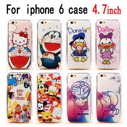 """2015 Hot arrive 14 style Fashion Luxury Case For Apple iphone 6 case 4.7"""" Cute Cartoon Duck Doraemon Cell phone Cases Covers(China (Mainland))"""