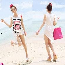 Sexy Women Print Sleeveless Suit Bikini Swimwear Cover Up Beach Dress Tops
