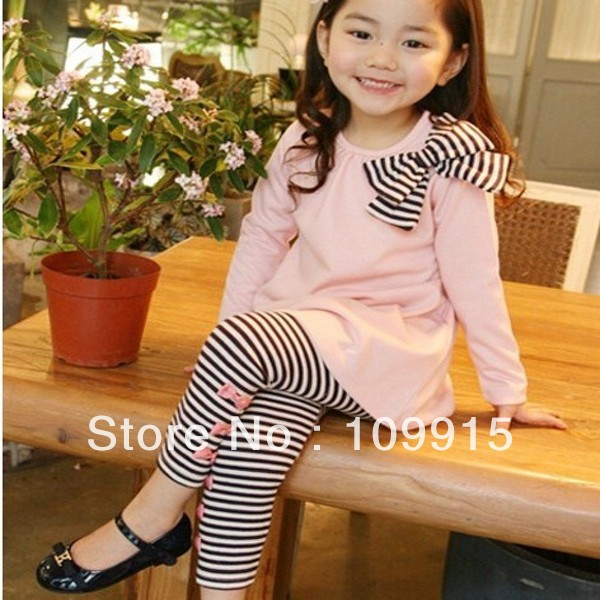 Droppshipping Free*Lovely Pinks&amp;Blues Girls Long Sleeve Shirts Bow Striped Leggings Pajama Suit Sets 3-8 Y LKM088<br><br>Aliexpress