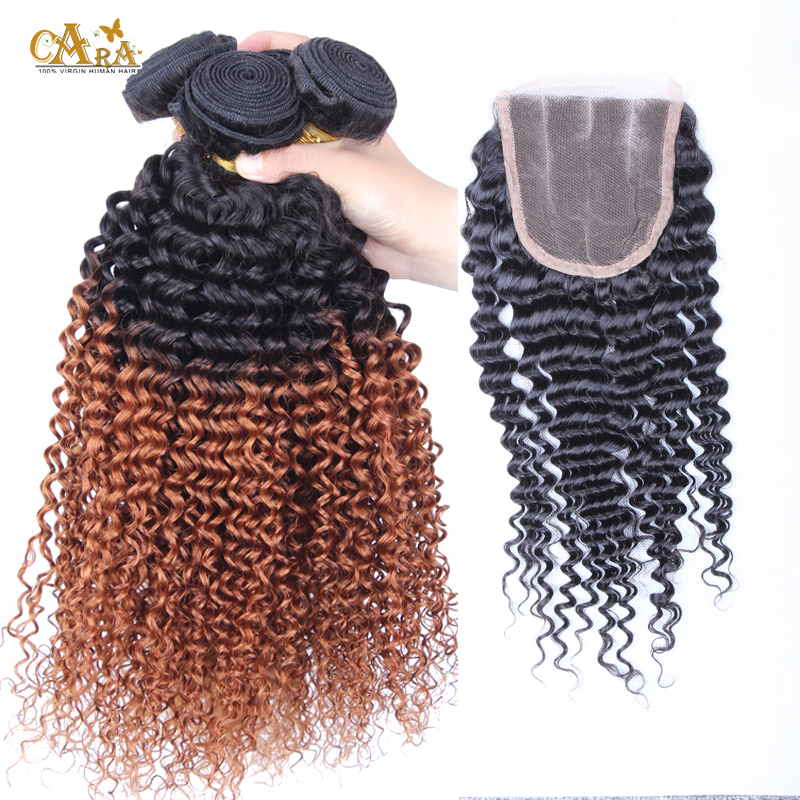 1pcs 3 part lace closure with ombre hair extensions mongolian kinky curly virgin hair bundles 4pcs lot #1b/30 CARA hair products<br><br>Aliexpress