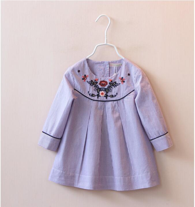 1506444 Wholesale New 2016 Baby Girls Blouses Striped Embroidery Full Sleeve Girls Tops Lolita Tee Children Clothes Supplier<br><br>Aliexpress