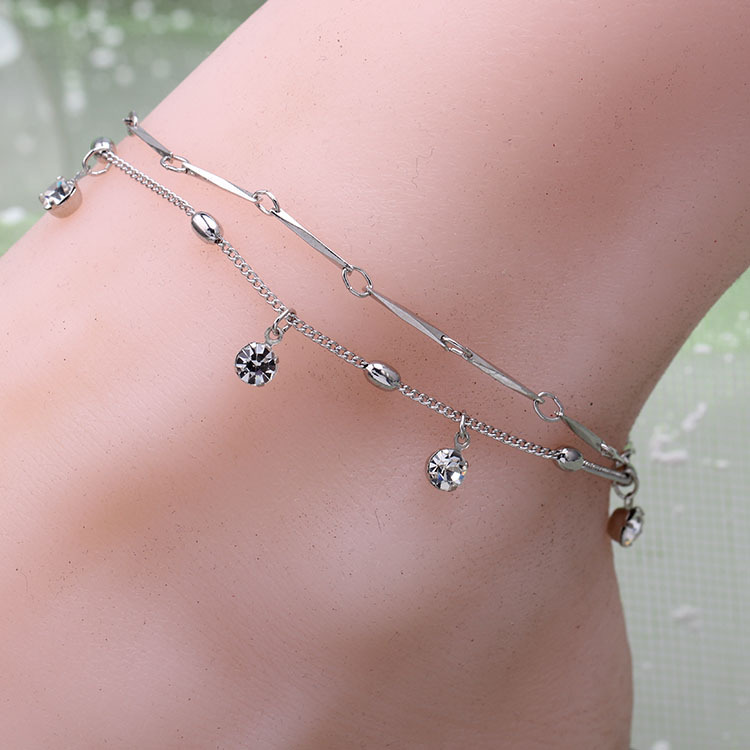 New Crystal Ankle Bracelet Double Rows Rhinestone Chain ...
