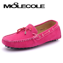 Free shipping 2013 soft outsole flat heel loafers gommini candy color bow nubuck cowhide women's shoes(China (Mainland))