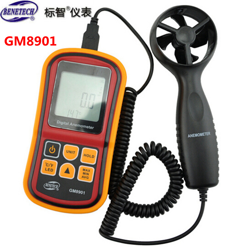 BENETECH GM8901 Digital Anemometer Wind Speed Sensor Gauge Meter 45m/s LCD Air Velocity Temperature Tester Portable USB Cable(China (Mainland))