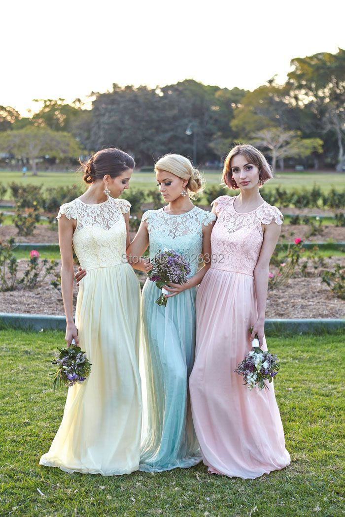 High quality long sheer lace vintage bridesmaid dresses for Pretty dress for wedding