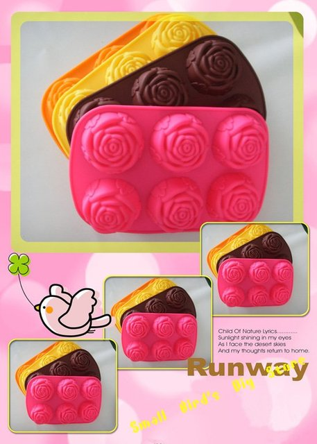 free shipping /6 cavites rose flower silicone cake mould/ /bakeware/ jelly cup /ice cream mold/chocolate mould/butter tray