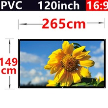factory sale 120 Inch 16:9 PVC Fabric Matte With 1.1 Gain projection screen Wall Mounted for hd 3d home theater free shipping(China (Mainland))