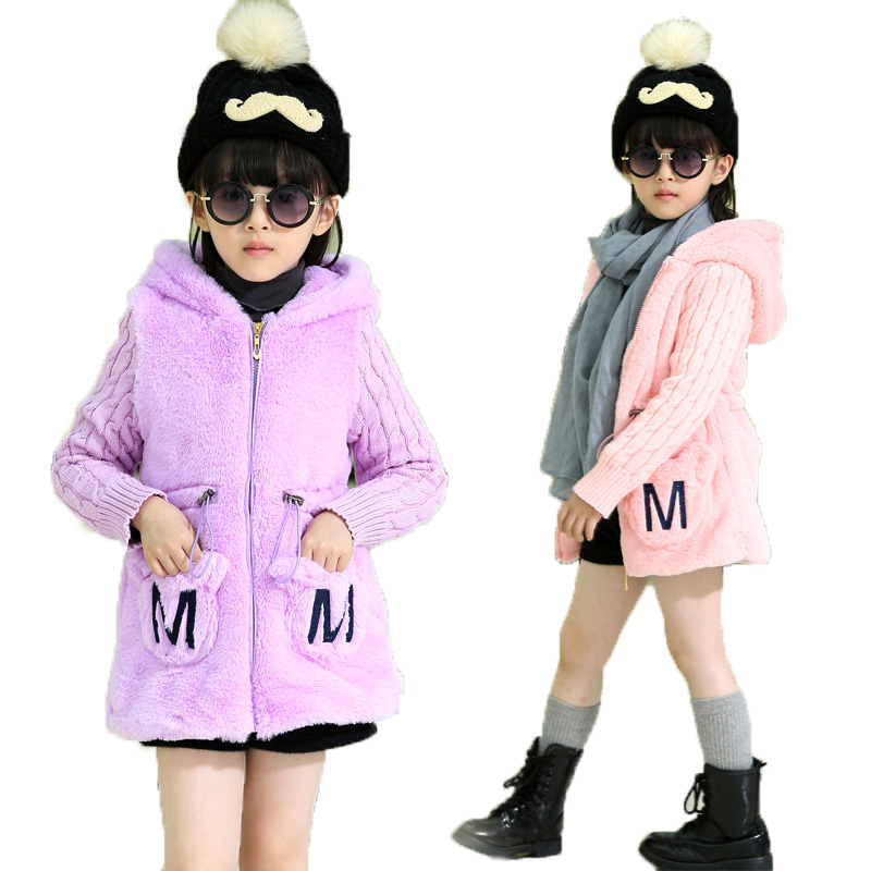 Girls Winter Coat Upscale Thick Faux Fur &amp; Cotton Girls Jacket Warm Collar Hooded Kids Parka Children Clothing 4 6 8 10 12 Year<br><br>Aliexpress