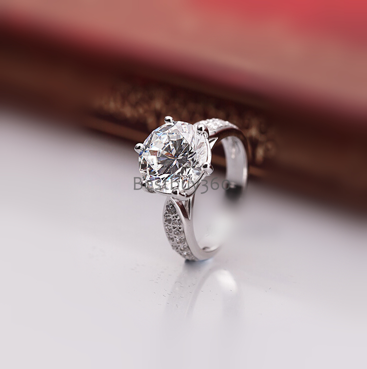 Brand new original 1.5 carat 6 prongs pure 925 silver  simulation NSCD sona man made diamond ring US size from 4 to 10.5<br>