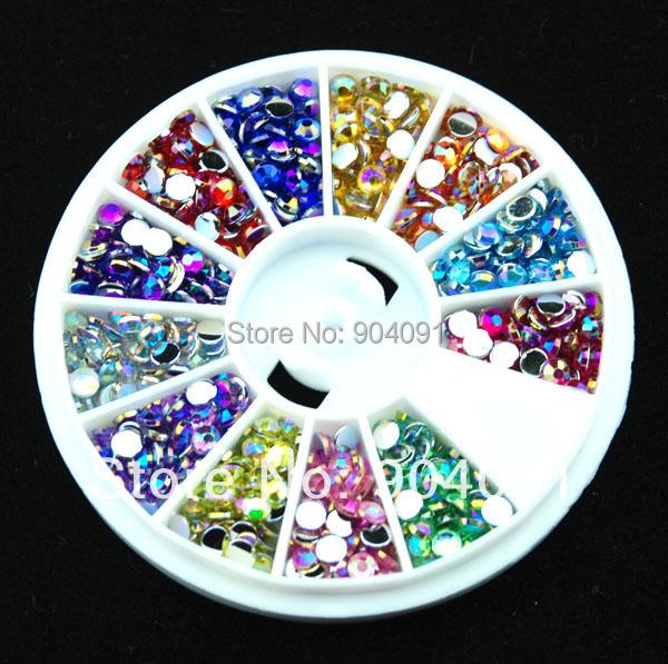 2014 NEW Arrvial 3MM AB Color 600pcs12 Styles Colorful Nail Art Tips Crystal Glitter Rhinestone Fushion Nail Art DIY Decoration(China (Mainland))