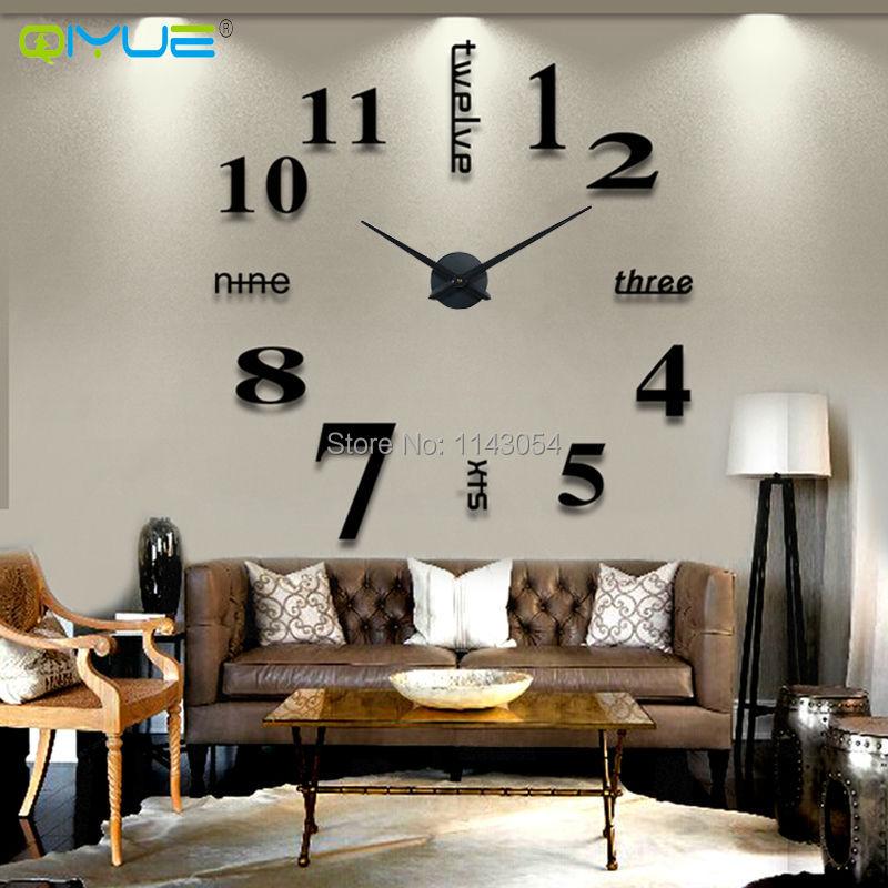 2016new wall clock English Digital Arts clock creative living room bedroom mute wall clock watch fun DIY Wall Clock big W15(China (Mainland))